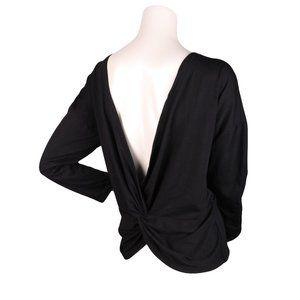 Open Twist Back Long Sleeve Shirt Top Black Sz L